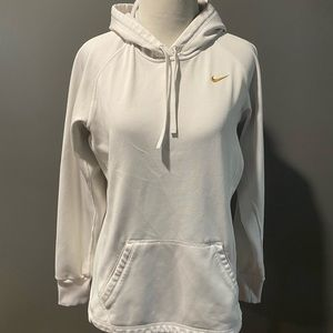 White with gold swoosh Nike hoodie size small